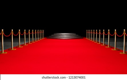 Red Event Carpet, Stair and Gold Rope Barrier Concept of Success and Triumph, vip