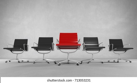 Red executive business chief chair as success and leadership concept (3D Rendering)