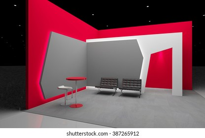 red exhibition stand 3d Rendering