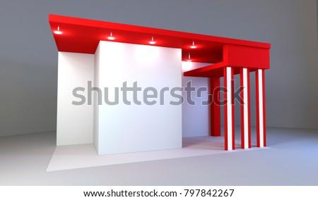 Exhibition Light D Model : Red exhibition stand light 3 d rendering stock illustration