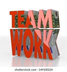 Red  expensive work 3d graphic with shiny Teamwork symbol  with euro texture