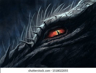 Red eye of dragon. Digital painting.