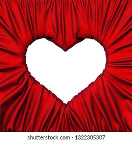 Red fabric heart shaped picture frame. 3d rendering.