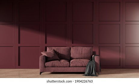 Red fabric sofa in the living room with classic wall panel. 3d rendering living room interior for design and dacoration.
