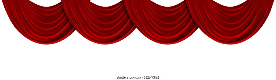 Red fabric theatre drapes on a plain white background. 3D Rendering
