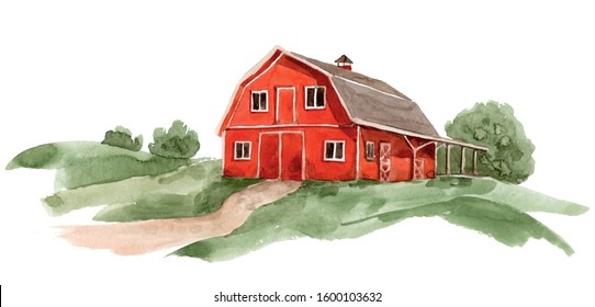 Red farm house barn. Watercolor illustration landscape white isolated background