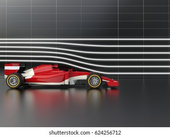 Red fast formula racing car in wind tunnel - 3D Illustration