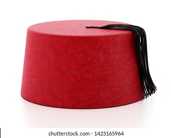 Red fez hat with black tassel. 3D illustration.
