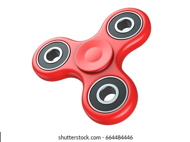 Red fidget finger spinner stress, anxiety relief toy. 3D render, isolated on white background.