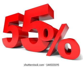 Red fifty five percent off. Discount 55%. 3D illustration.