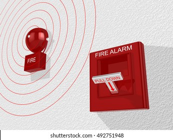 Red fire alarm switch with pull down lever activated and a siren attached to a white wall emitting an alarm sound 3D illustration