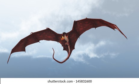 Red fire breathing dragon flying in to attack from a cloudy sky, 3d digitally rendered illustration