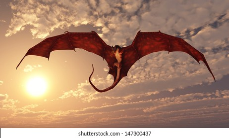 Red fire breathing dragon flying in to attack from a cloudy sunset sky, 3d digitally rendered illustration