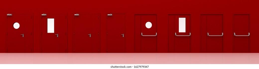 Red fire doors, 3d rendering, 3d illustration