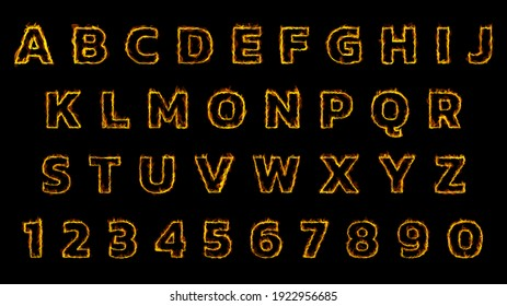 Red Fire Font collection., Burning fire.