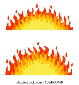 Red fire and orange flame. Campfire element. Hot bonfire kit. Heat and warm object. Cartoon flat illustration