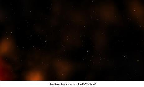 Roter feuerwachender Rauch mit Hintergrund für kleine Partikel - 3D-Illustrationskonzept für den Partikelhintergrund
