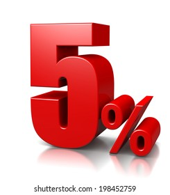 Red Five Percent Number on White Background 3D Illustration