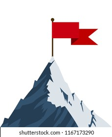 Red flag on mountain peak. Successfull mission icon business concept. Symbol of victory, winning. illustration in flat style Raster version.
