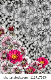 red flower on abstrat black and gray background