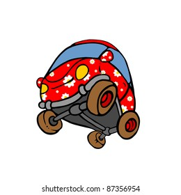 Red flowered car. Cartoonist style, isolated on white image