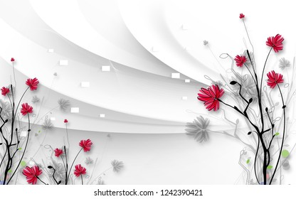Red flowers on tree branch on silver background 3D wallpaper