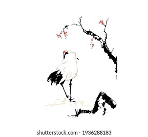 red flowers sakura tree and Siberian Crane, stone