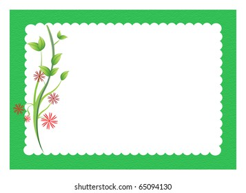 red flowers and stems with green scalloped border all around