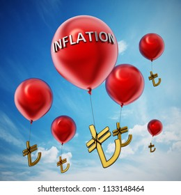 Red flying balloons with tied Turkish lira symbol. 3D illustration.