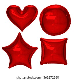 Red foil balloon set with clipping path