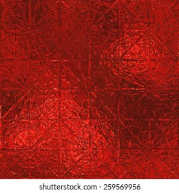 Red Foil Seamless and Tileable Luxury background texture. Glamour and glittering holiday wrinkled red foil background.