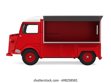 Red Food Truck Isolated. 3D rendering