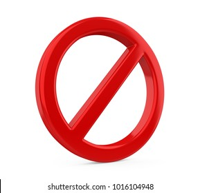 Red Forbidden Sign Isolated. 3D rendering
