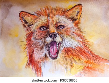 Red fox. Color pencil on paper. Naive Art. Abstract art. Painting color pencil on paper. Children's creativity