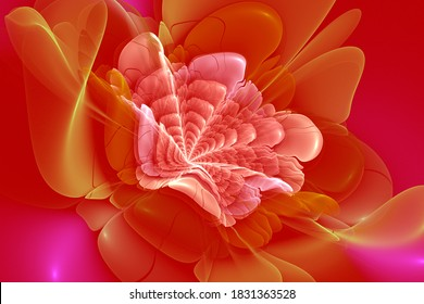Red fractal flower, meditation peace and relaxation, abstract modern background with fractal shapes for web design, flyers or art