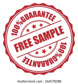 Red Free Sample 100% Guarantee Badge, Banner, Sign, Tag, Label, Sticker or Icon Isolated on White Background