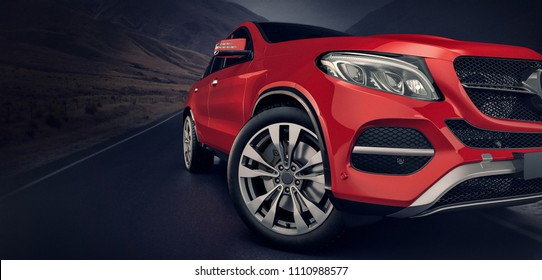 red front cars running on the road. 3d rendering and illustration.
