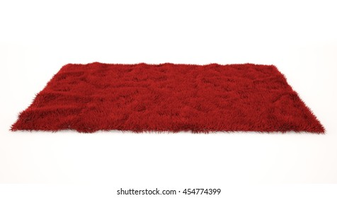 Red furry carpet. Isolated on white. Color fluffy rug low angle view. 3D rendering