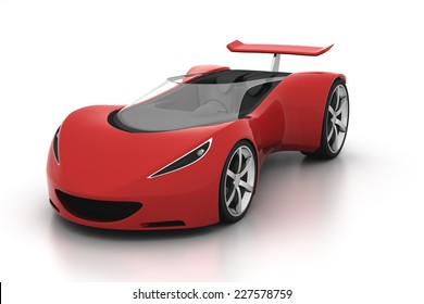 red futuristic concept sport car on isolated white background, 3d render
