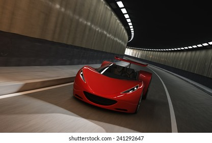 red futuristic concept sport car, 3d render