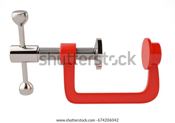 Red G clamp on white background 3D illustration
