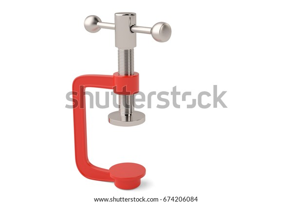 Red G clamp on white background 3D illustration