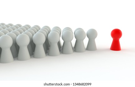 Red game figure in front of a group of white figures