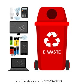 Red garbage can with e-waste elements, illustration