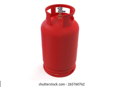 A red gas cylinder isolated on white background