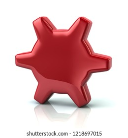 Red gear settings icon 3d illustration on white background