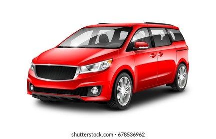 Red Generic Minivan Car On White Background. MUV, MPV Or High Roof Family Automobile. Perspective view. 3d illustration With Isolated Path.