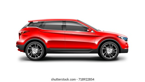 Red generic SUV car. Off Road Crossover with glossy surface on white background. Side view with isolated path. 3d illustration.