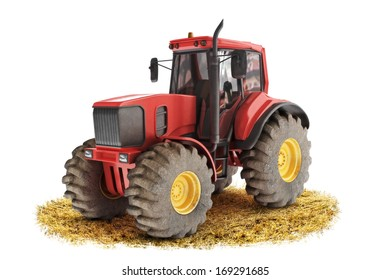 Red generic tractor positioned on a field with a white background