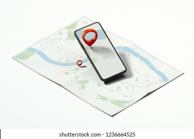 Red geotag or map pin in black mobile phone on realistic map. 3d rendering.
